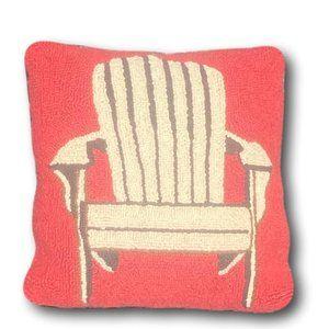 Primitive Wool Hooked Wool Adirondack Chair Pillow
